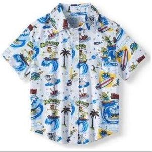 Kids Boys Vacation Hawaiian Shark Surf Shirt Sz 10